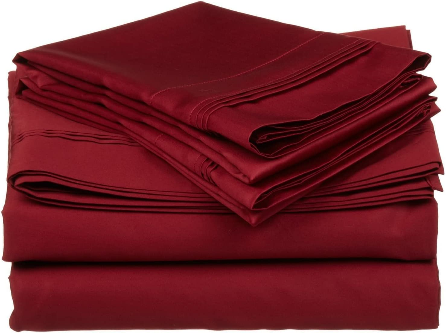 1 Fitted Sheet + 1 Flat Sheet and 2 Pillow Cases Max Staunch offers- Elegant 4-piece sheet set 100/% Cotton 400 TC Fit up to 35 cm mattress. Double, Burgundy solid
