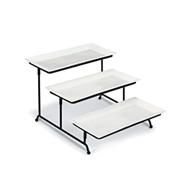Klikel 3 Tiered Cake Stand - Metal Rack – 3 Rectangular White 12x6 Inch Porcelain Plates, Microwave And Dishwasher Safe - Buffet, Wedding And Dinner Party Centerpiece -collapsible