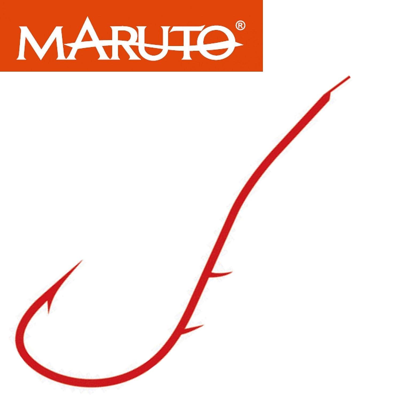 MARUTO Aalhaken rot - Angelhaken, Plättchenhaken zum Aalangeln, Haken für Aale, Einzelhaken für Aal Haken für Aale Einzelhaken für Aal