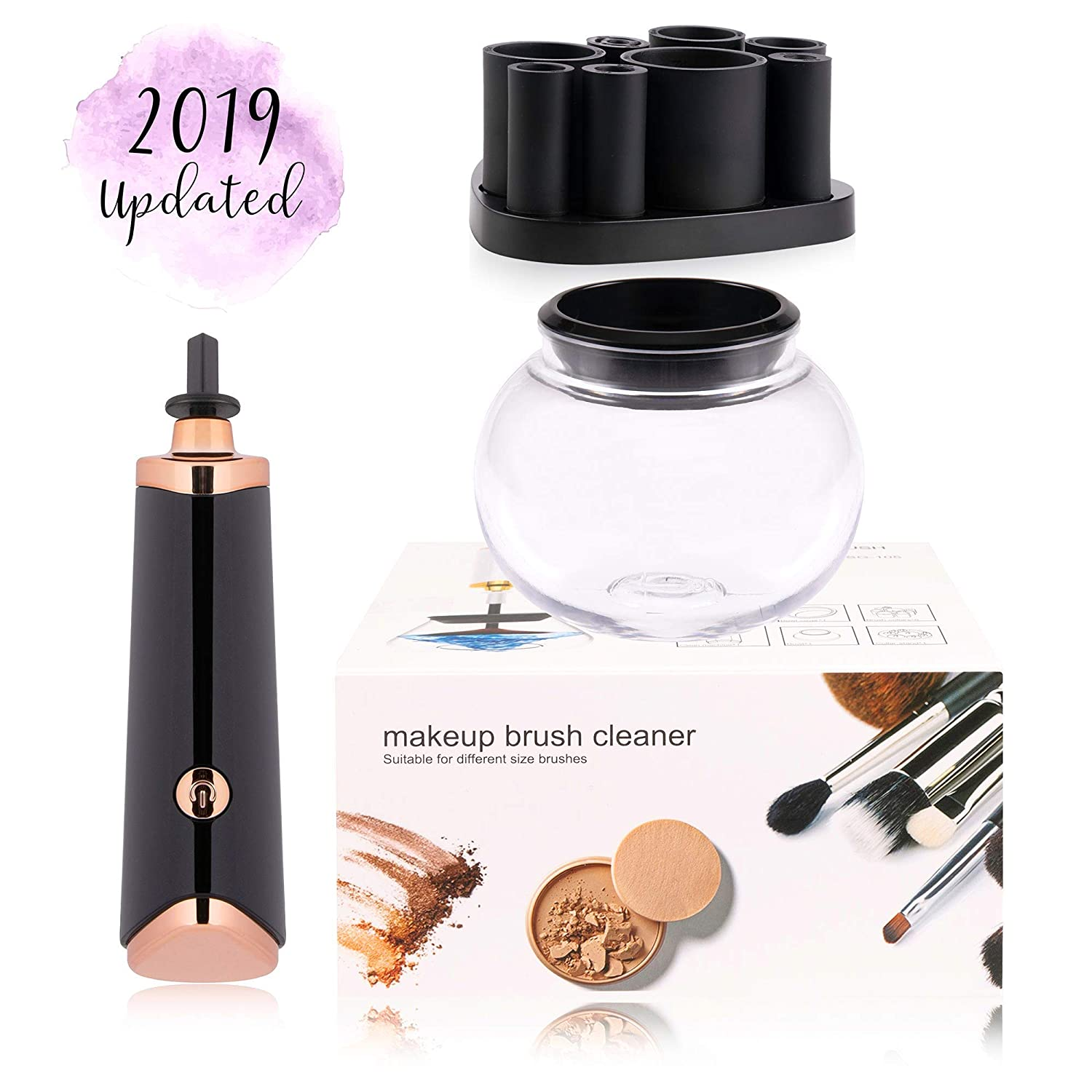 Clara Beauty - Electric Makeup Brush Cleaner Kit - 2019 Updated Version - Automatically Cleans Cosmetic Make Up Brushes in 30 Seconds, Spinner Dries Brushes Almost Instantly. Fits 99% of Brushes