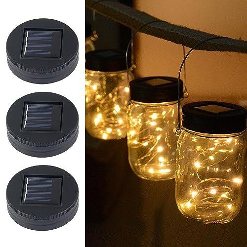 AOLVO Solar Mason Jar Lid,Mason Jar Fairy Lights 20 LED Bulbs Fairy String Lights Insert with Solar Panel for Glass Mason Jars and Garden Decor Solar Lights(3 Pack)