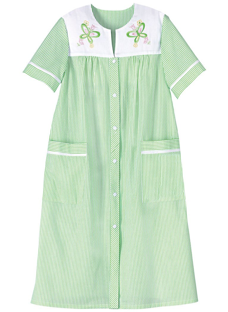 AmeriMark Women's Embroidered Stripe Duster 3X (24W-26W) / Green