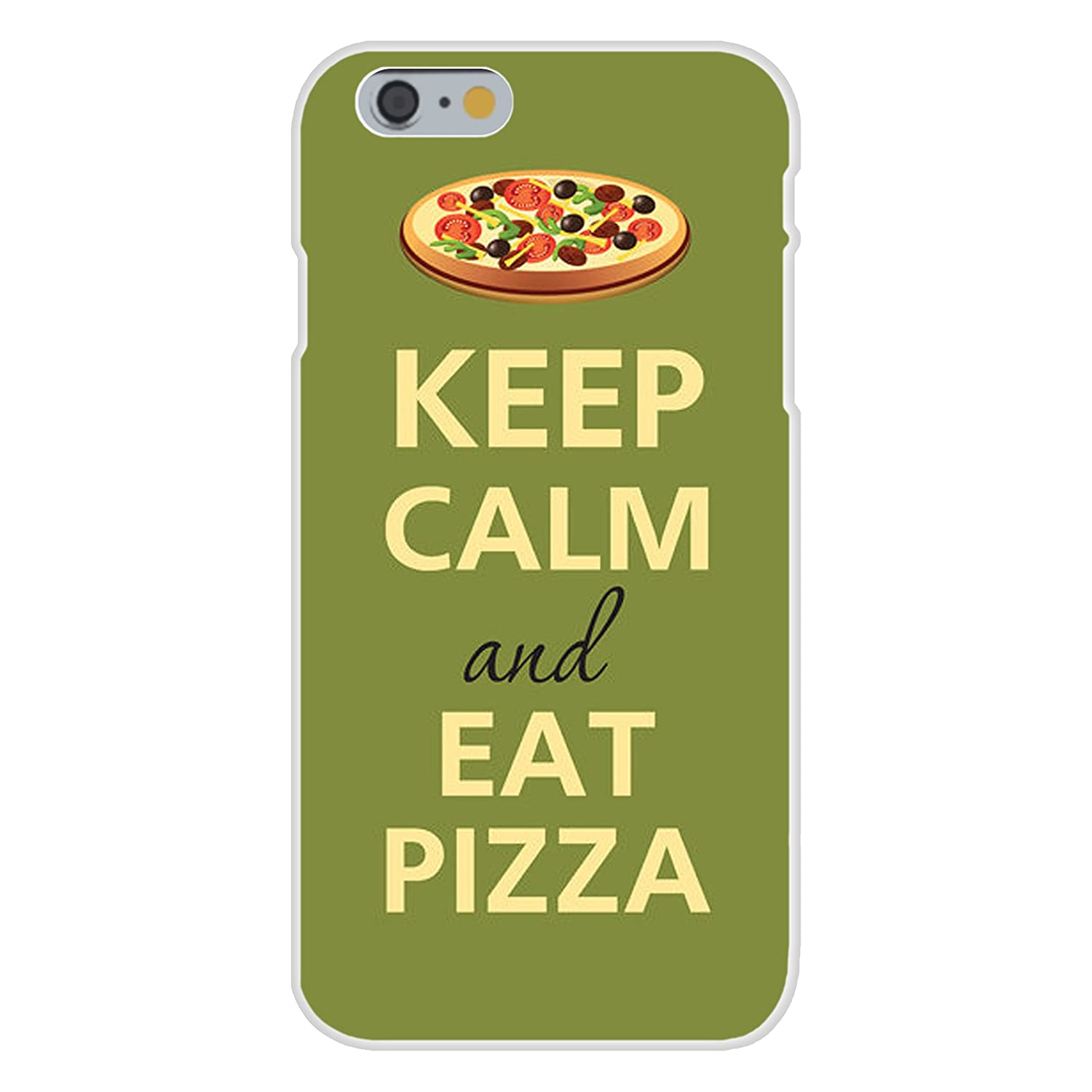 Apple iPhone 6+ (Plus) Custom Case White Plastic Snap On - Keep Calm and Eat Pizza Green