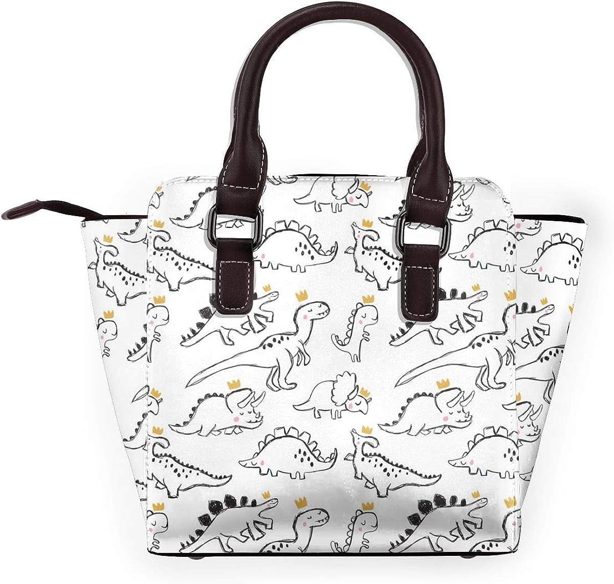 Hedgehog Texture Damen Handtasche Hobos Leder Nieten Schultertasche Große Tote Bag für Arbeit Dinosaurier T-rex Trägt Krone.