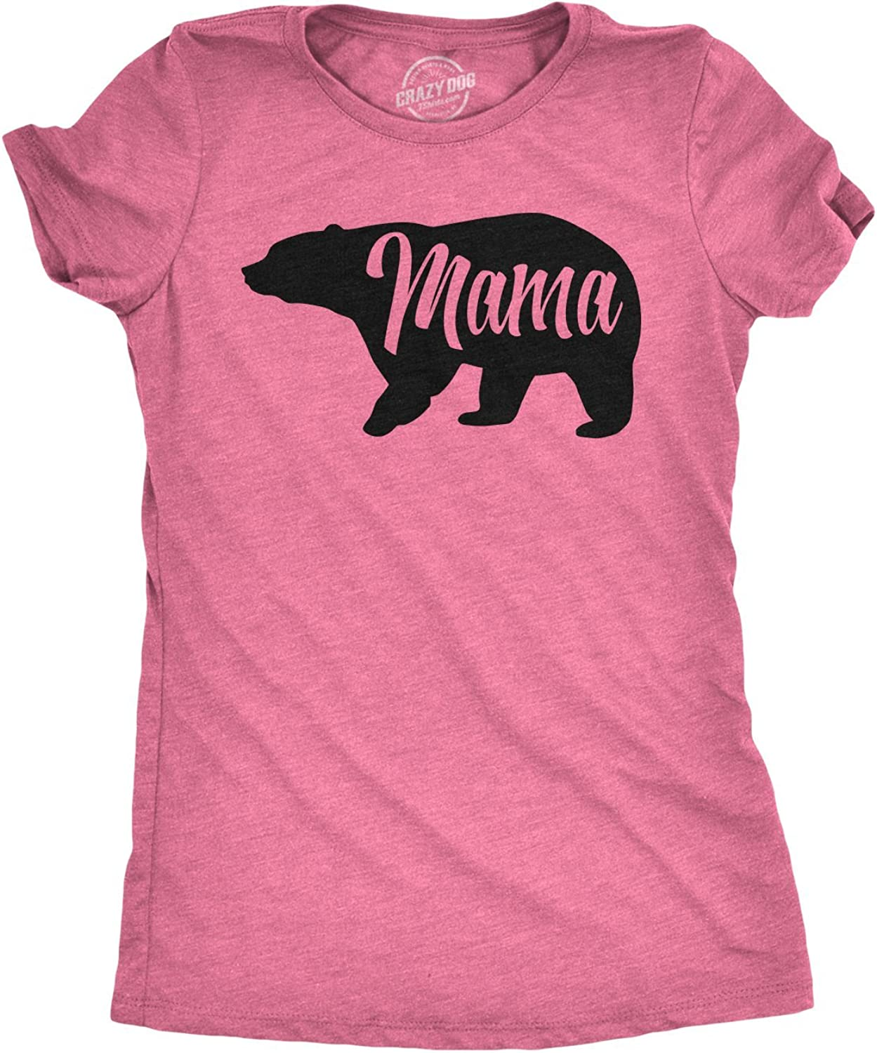 Crazy Dog T-Shirts Womens Mama Bear T Shirt Cute Funny Best Mom of Boys Girls Cool Mothers Day Tee