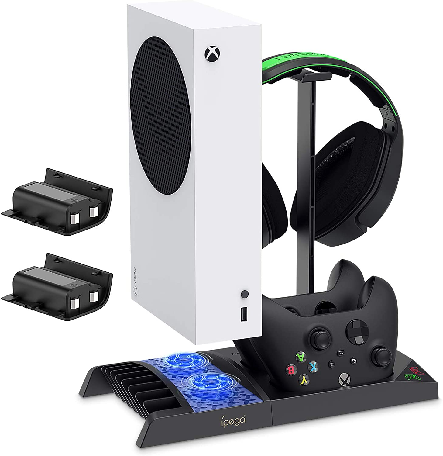 FYOUNG Vertical Charging Stand Storage Tower for Xbox Series S with Cooling Fan, Charging Dock for Xbox Series S with 2X 1400 Rechargable Battery Pack and Gaming Headset Stand(not Fit for Xbox One S)