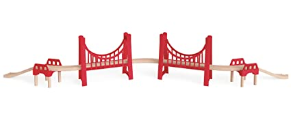 Amazon com: Hape Wooden Railway Extended Double Suspension Bridge