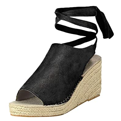cea936d4848 Hotsell〔☀ㄥ☀〕Women Lace-up Wedges Heel Platform Ankle Tie Wrap ...