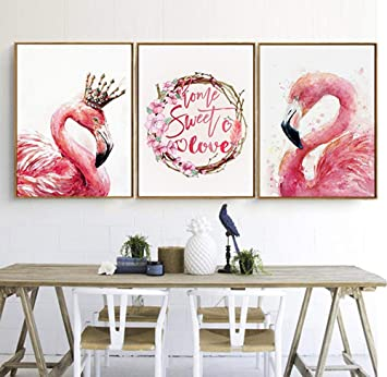 Canvas Print Wall Decor Art Flamingo King And QueenTropical Pink Sweet Love  Oil Paintings Home Decorations