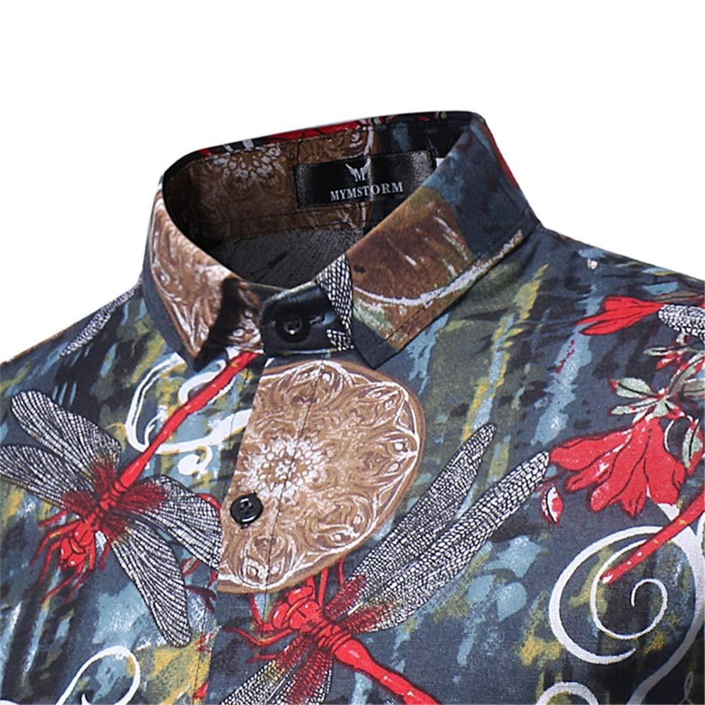 TQF1 Mens Summer Slim Casual Long Sleeve Printed Shirt Top Blouse Green,XX-Large