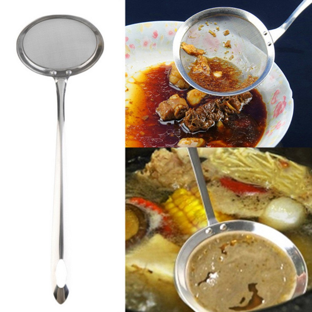 Oil Filter Scoop,Elevin(TM) Round Network Stainless Steel Colander Spoon Filter Oil Filter Grid Scoop Colander Funnel