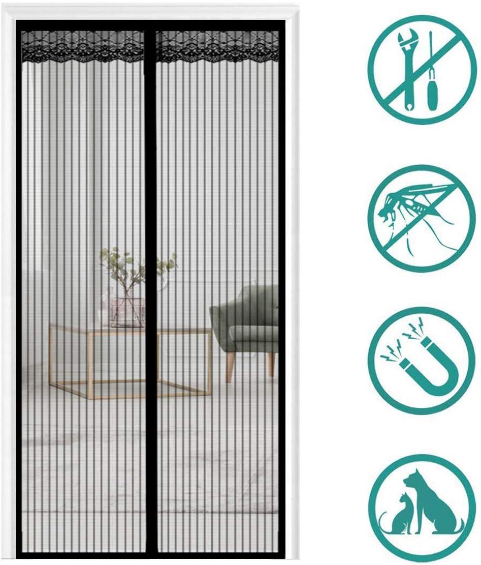 THAIKER Moustiquaire Porte Fenetre Aimant/éE 75x210cm Moustiquaire Enroulable Fermeture Automatique Animaux Accept/éS pour Couloirs Portes Noir