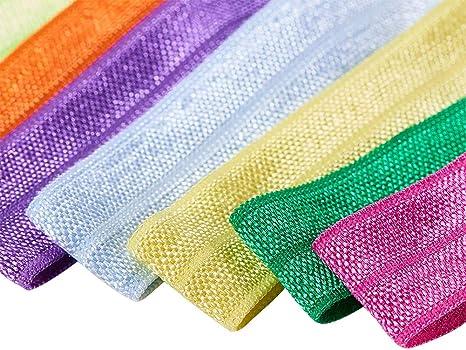 BENECREAT 34 PCS 15mm 34 Colori Fascia Elastica Nastro Elastico Pieghevole Brillante Corda Elastica in Nylon Fascia Elastica Alta Elastica per Cucito e Artigianato