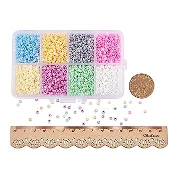 PandaHall Elite Ceylon Round Glass Loose Spacer Beads 3mm Diameter Multi-color 1 Box: Amazon.es: Hogar