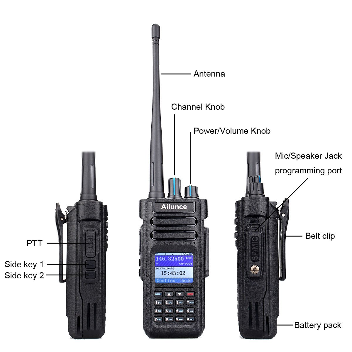 Ailunce HD1 DMR Digital Ham Radio Dual Band Dual Time Slot 10W 3000Channels 100000 Contacts 3200mAhz Waterproof long Range Two Way Radio with FM Function and Programming Cable(Black,1pack) by Ailunce (Image #2)