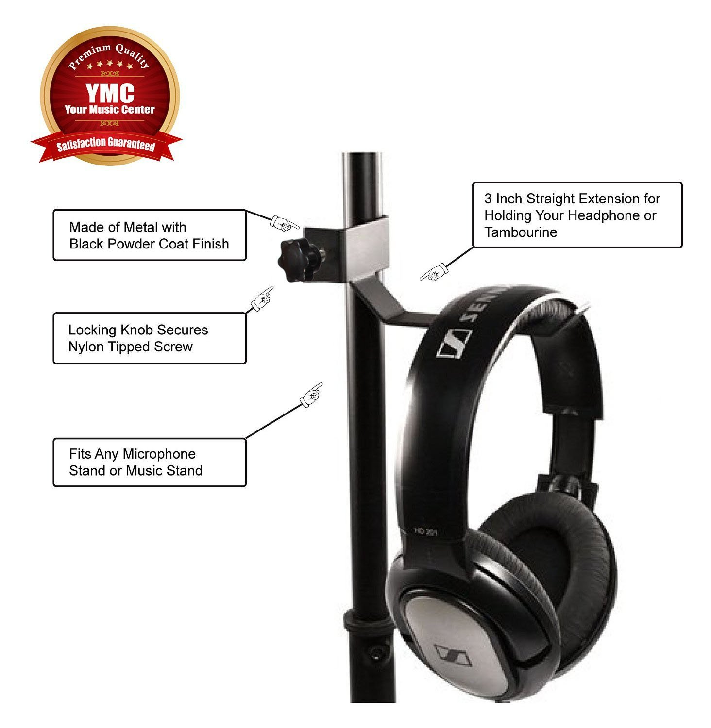 Ymc Headphone Holder Tambourine Hanger Clip For Music Microphone Musical Stand Black Instruments