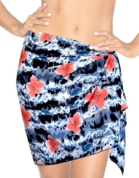 "4c72d618c8 LA LEELA Likre Swimwear Wrap Party Girl Beach Sarong Printed  72""X21"" Black_401"