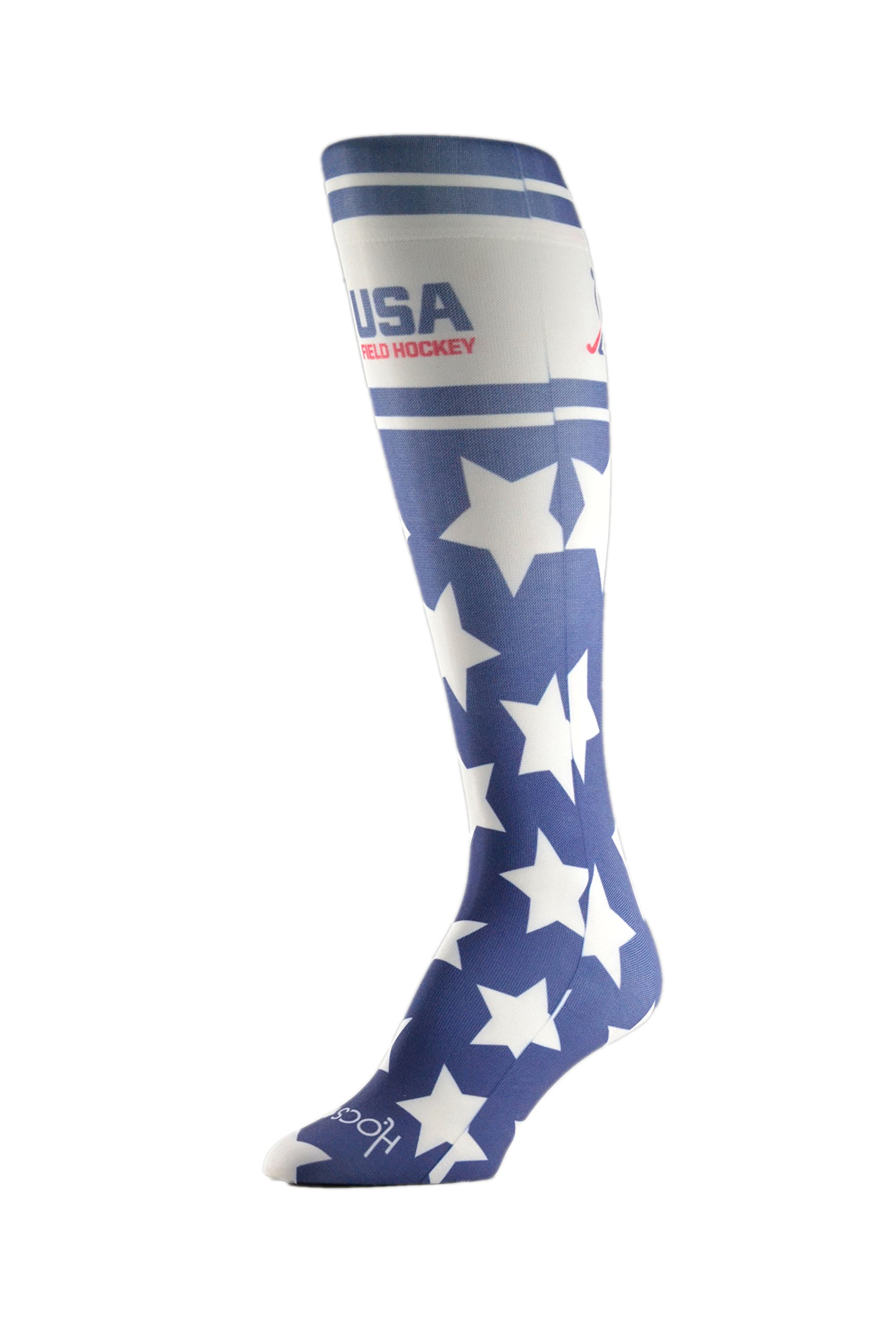 HOCSOCX Womens/Girls Shin Guard Rash UNDER Sport Socks (Medium (Shoe Size 5-11), USA Field Hockey Stars)
