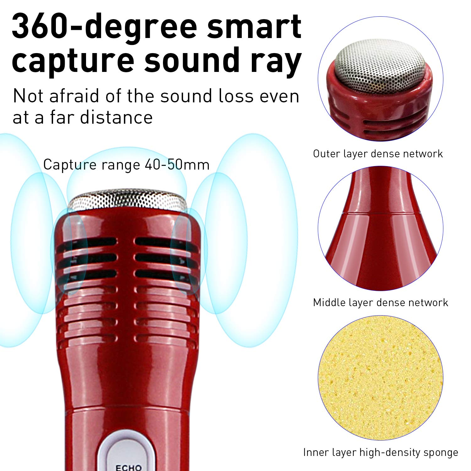 Microphone for Kids, Wireless Bluetooth Microphone with Bluetooth Speaker and Multi-color LED Lights Handheld Singing Machine Girls Boys Birthday Gift Compatible with PC/iPad/iPhone/Smartphone - (Red) by WOSTOO (Image #2)