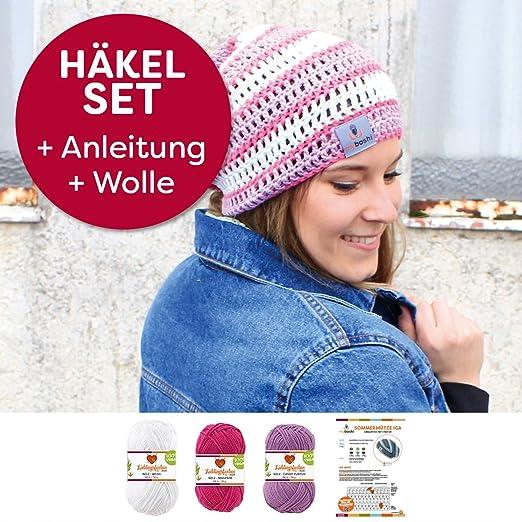 Myboshi Mützen Häkelset Sommer Beanie Iga 85 Baumwolle 15 Kapok