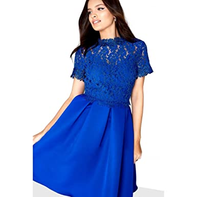 Little Mistress Womens/Ladies Scallop Lace Prom Dress (12 UK) (Cobalt Blue