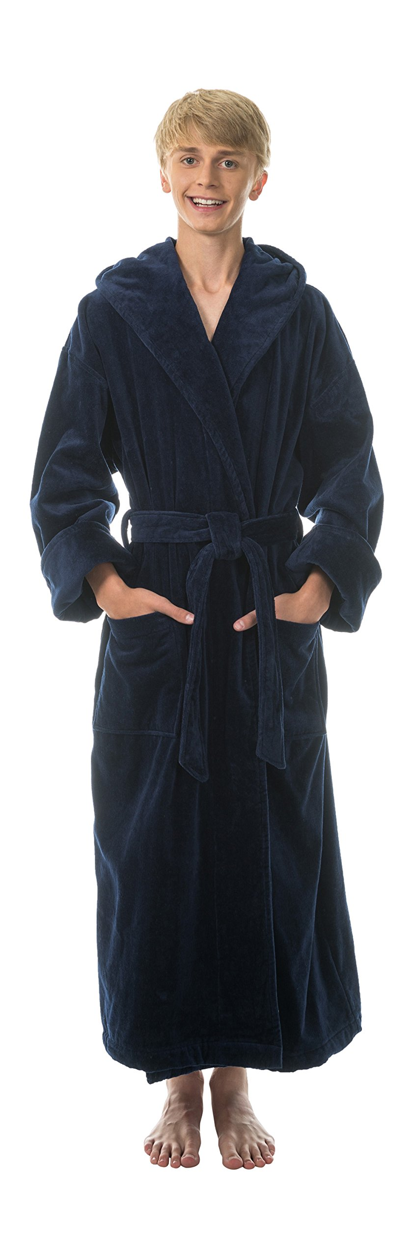 Comfy Robes Men's Terry Velour Hooded Bathrobe, L/XL Navy