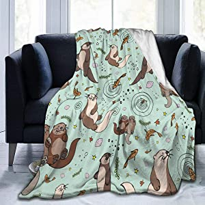 Sea Otters Small Flannel Fleece Blanket Soft Warm Fleece Throw Blanket Premium Durable Sofa Blanket Comfortable Lightweight Plush Throw Blanket for Office Home Bed