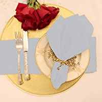 Kadut Cloth Napkins - 17 x 17 Inch Baby Blue Solid Washable Polyester Dinner Napkins - Set of 12 Napkins with Hemmed Edges - Great for Weddings, Parties, Holiday Dinner & More
