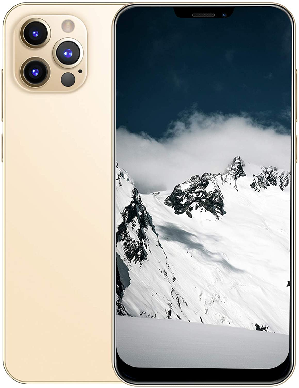 i12 Pro MAX Unlocked Smartphone, 6.26in HD Bang Screen Mobile Phone, 1+8G Dual Sim Cell Phone for Android 10.0 Gold(US)