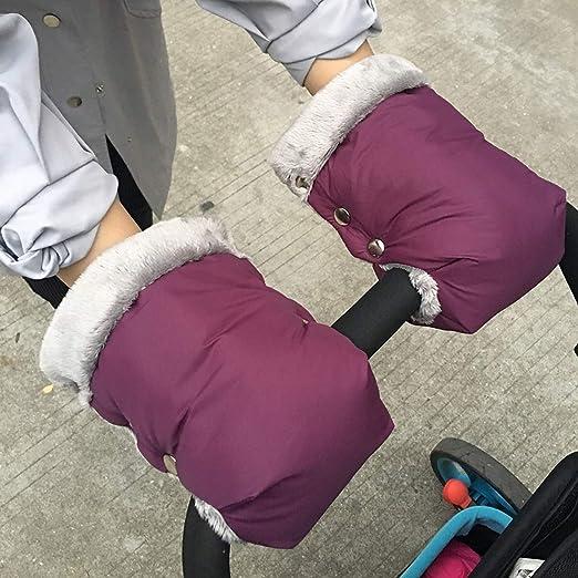 Cochecito de pa/ño grueso y suave de la mano del manguito a prueba de viento extra gruesa Anticongelante Tama/ño impermeable Cochecito Guantes universal para silla de paseo del cochecito de ni/ño,Marr/ón