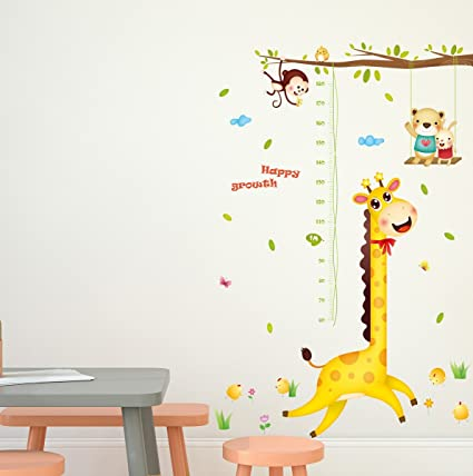 Amazon Brand - Solimo Wall Sticker for Kids Room (Happy Growth Giraffe, Ideal Size on Wall: 126 cm x 183 cm)