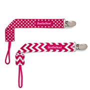 BooginHead Baby Newborn PaciGrip Pacifier Clip, Holder, Toy, Teether, Soothie, Universal Loop Girl, Pink Chevron, Pink Polka Dots, 2 Pack