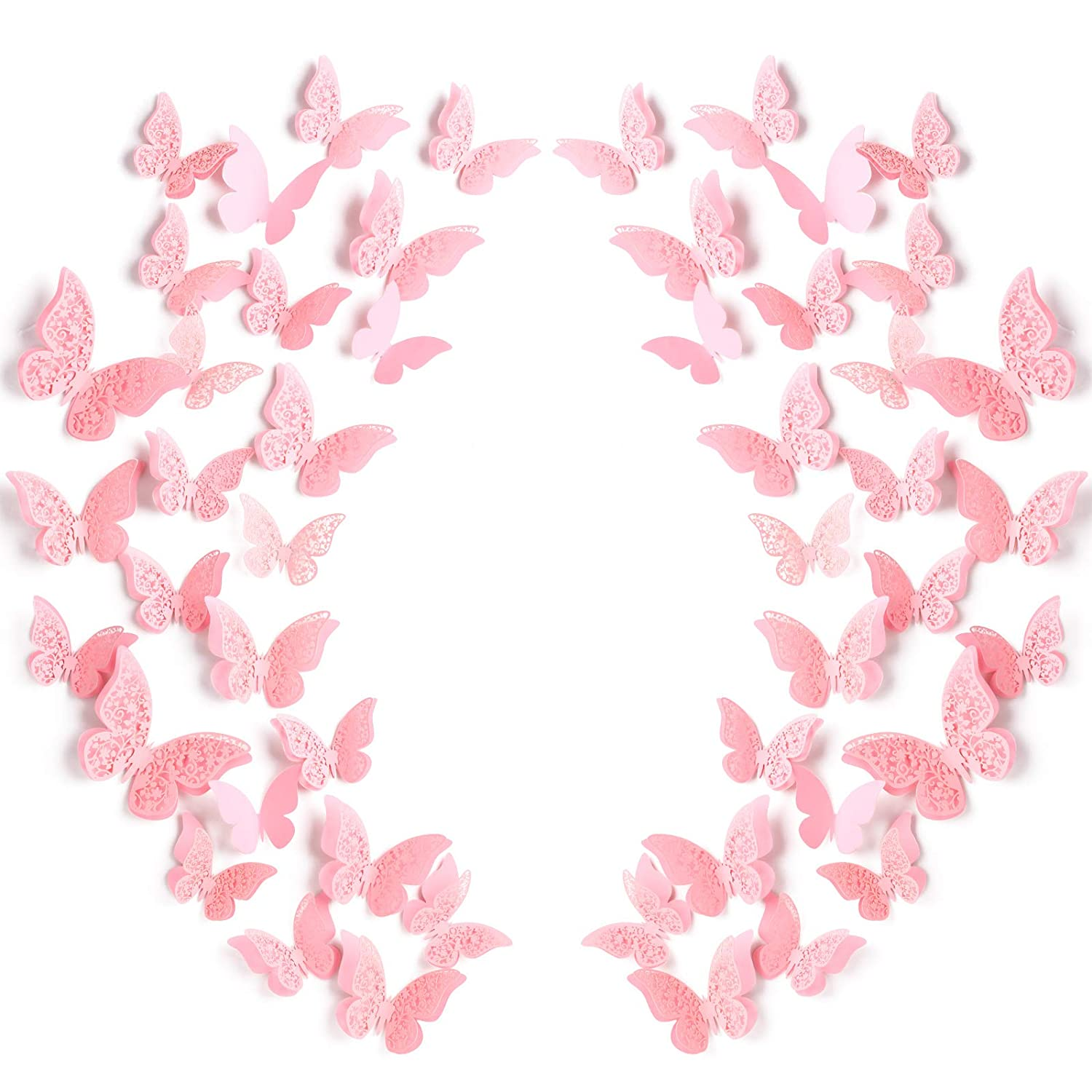 120 Pieces 60 Pairs 3D Layered Butterfly Wall Decor Removable Butterfly Stickers Hollow Mural Decals DIY Decorative Wall Art Crafts for Baby Room Home Wedding Decor, Pink