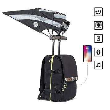Porlik Mochila inteligente con paraguas manos libres, mochila de viaje con carga USB y altavoz