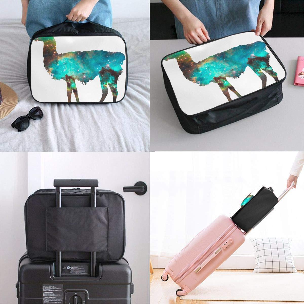 Travel Luggage Duffle Bag Lightweight Portable Handbag Space Alpaca Large Capacity Waterproof Foldable Storage Tote