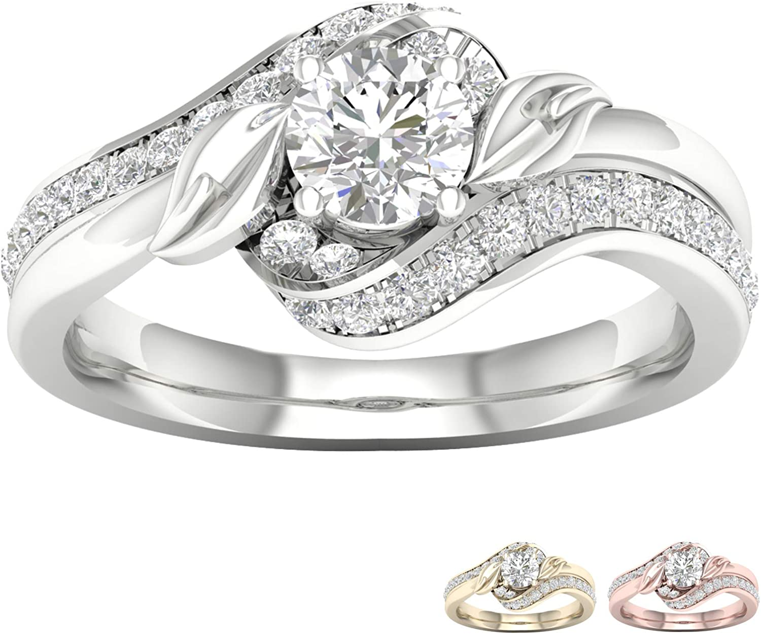 10k or 14k White Gold Promise Ring Round Center Diamond and Accents