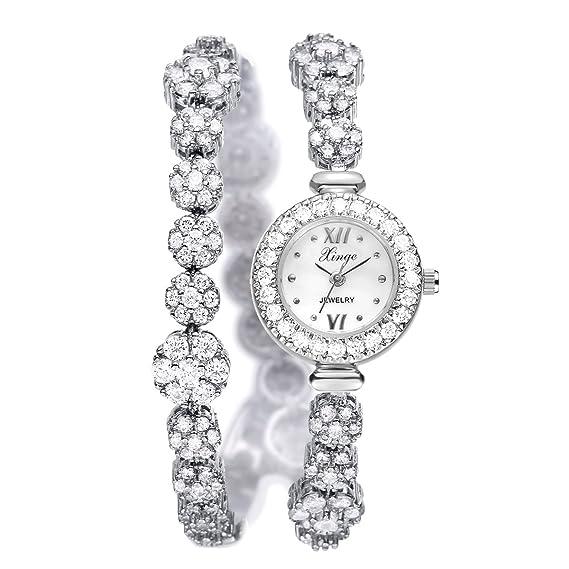 XinGe joyería de acero inoxidable de la mujer reloj de pulsera Zircon flor correa Wrap estilo plata xg1027: Xinge: Amazon.es: Relojes