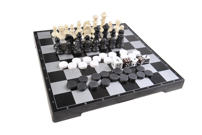 Magnetisches Brettspiel 3-in-1 (Standard Größe): Schach, Dame, Backgammon - magnetische Spielsteine, Spielbrett zusammenklappbar, 25cm x 25cm x 2cm, Mod. SC26810 (DE)