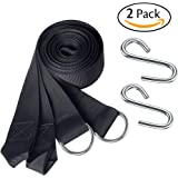 Set of 2 Hammock Straps Hanging Tree Straps - Camping Accessories Supplies Include 2 Ultralight Suspension Straps + 2 Heavy-duty S Hooks