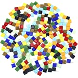 Dreamtop 160g Assorted Colors Mosaic Tiles Glitter Glass Mosaics with Storage Box for DIY Craft Decoration,10 x 10 mm