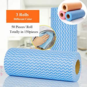 150pcs/roll Reusable Cleaning Wipe, Household &Kitchen Towels,Disposable Cleaning Cloth, Dish Cloth Dish Towels Dish Rags Reusable Kitchen Paper Towels, Wash Towels