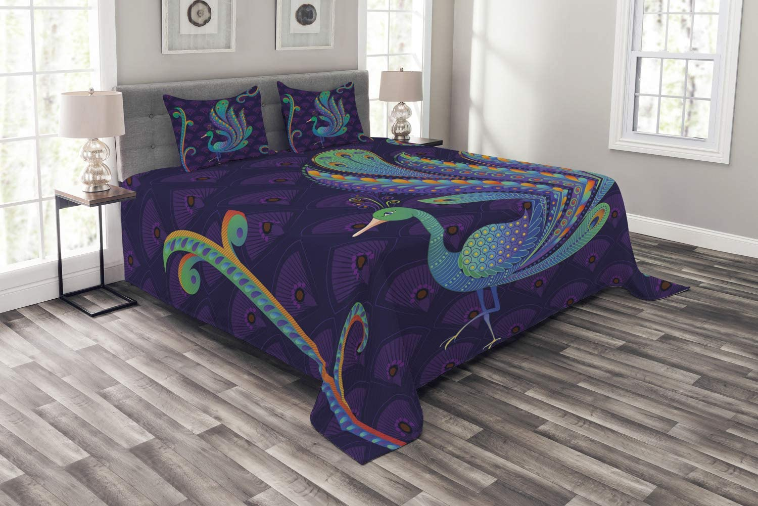 Ambesonne Ethnic Bedspread, Peacock Bird with Oriental Feather Before Image, Decorative Quilted 3 Piece Coverlet Set with 2 Pillow Shams, Queen Size, Purple Green