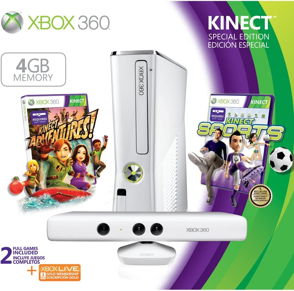 Microsoft Xbox 360 4GB Console with Kinect - juegos de PC (Xbox 360, IBM PowerPC, 5 - 35 °C, DVD, 4 GB, 802.11b, 802.11g, 802.11n) Negro: Amazon.es: Videojuegos