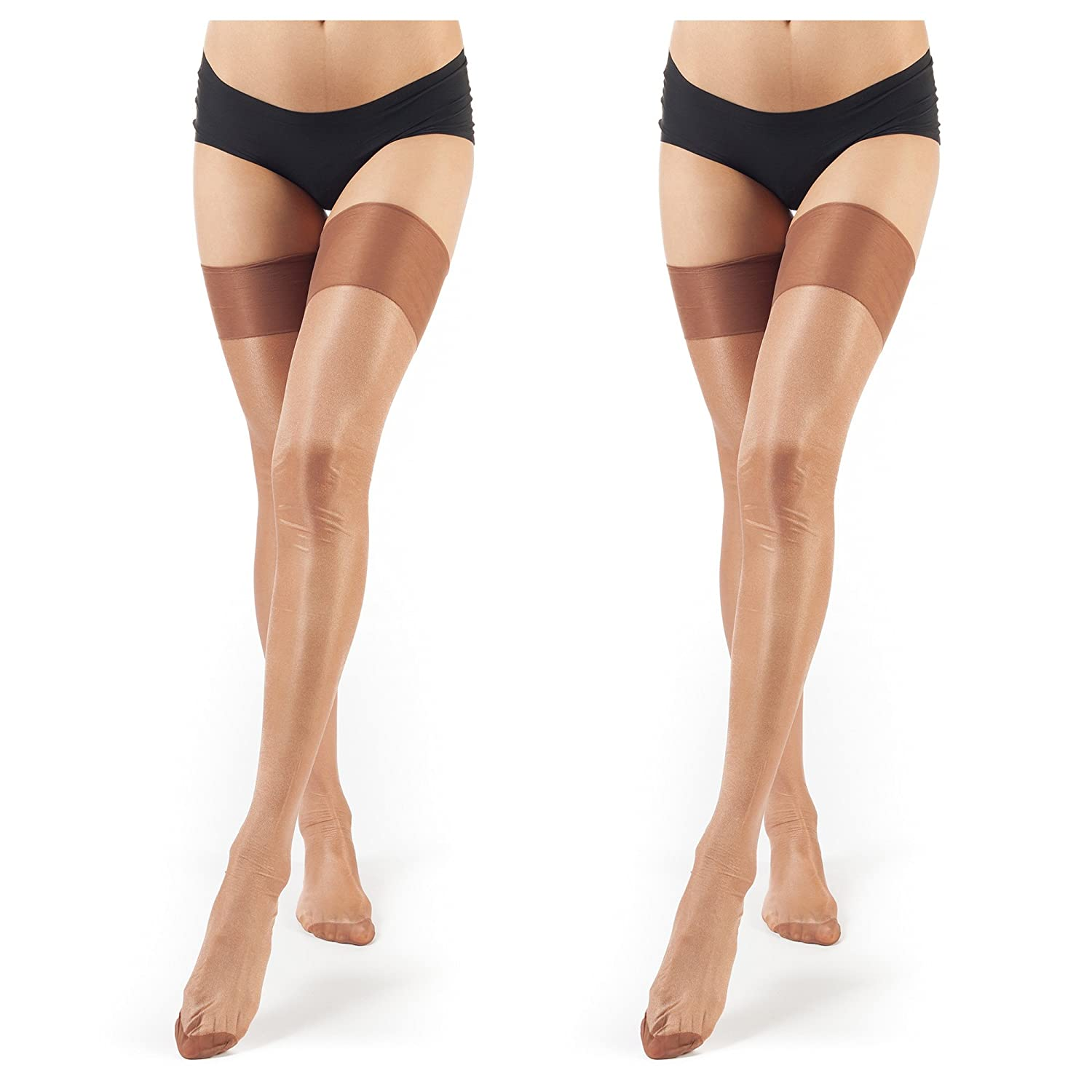 2 Pairsbrown ElsaYX Women's Classic Pure Nylon Glossy Thigh High Stockings for use with Garter Belt Lingerie