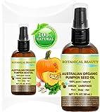 "OrganIC PUMPKIN 澳大利亚种子油 * 纯色/自然/未稀释/未精炼冷压输油。 2 液体盎司- 60 毫升。 适用于皮肤、*、唇和*护理。 ""酶、*酸、铁、锌、维生素 A、C、E 和 K""*丰富来源之一。 Botanical Beauty 出品。"