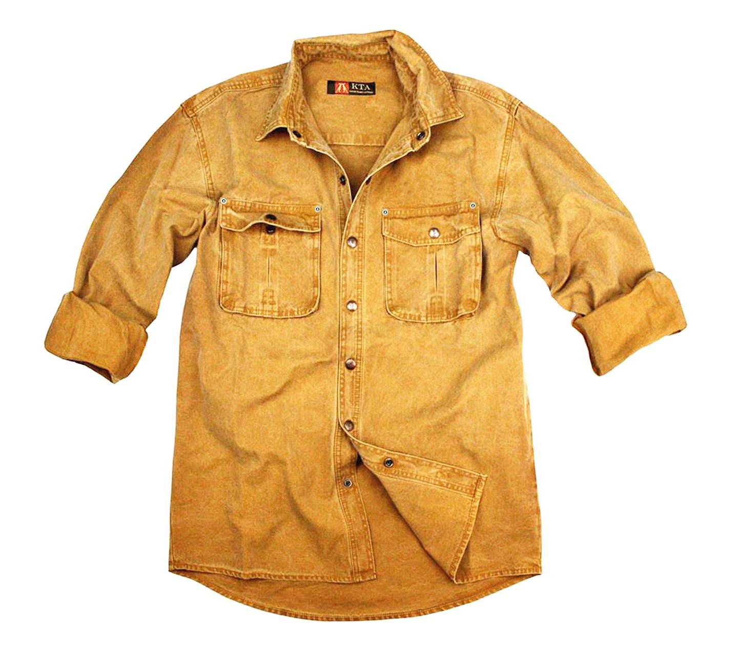 Kakadu Traders Australia Robustes Outdoor Herrenhemd Overshirt in braun, blau und Mustard, Langarm- Shirt