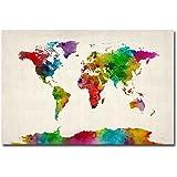 Amazon dinosaur world map canvas wall art by michael tompsett trademark fine art watercolor world map ii by michael tompsett 30x47 inch canvas wall gumiabroncs Image collections