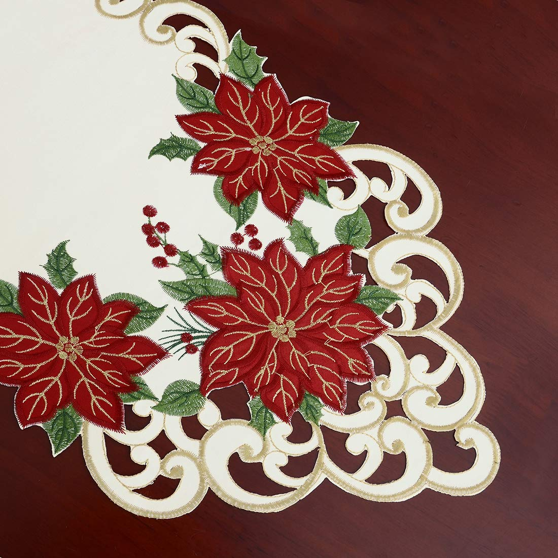 Simhomsen Christmas Holiday Poinsettia Table Runners Appliqu/é and Embroidery 13 /× 88 inch