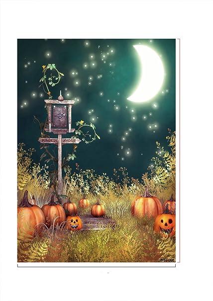 ycnet fotografía fondo plegable personalizada algodón Tejido luna bate bruja montando escoba de un castillo fotos fondo de Halloween los niños parte fondos: ...