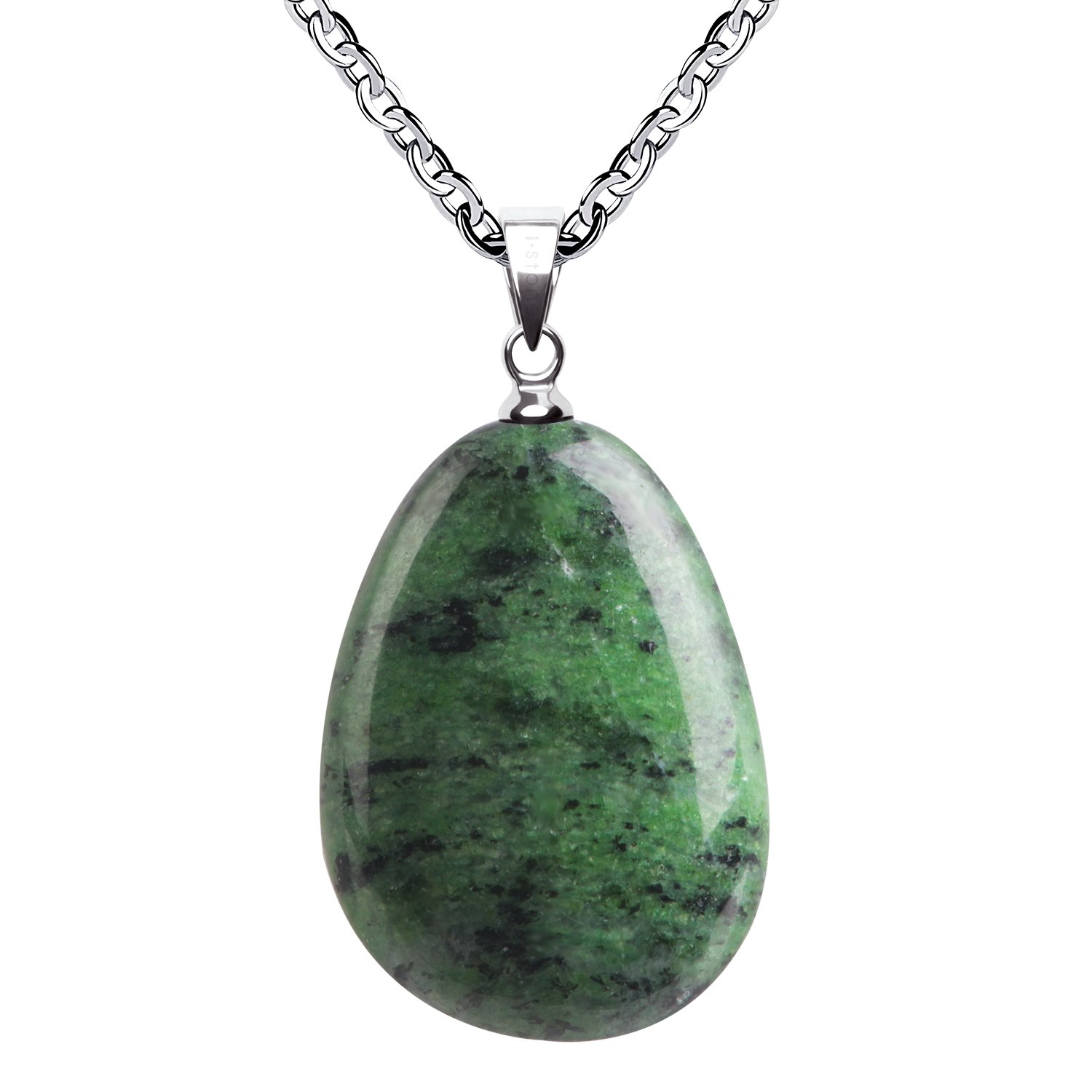 iSTONE Natural Gemstone Water Drop Green Jade Pendant Necklace with Stainless Steel Chain 20 Inch¡­